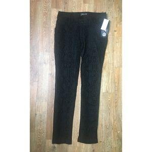 SEVEN7 Black Velour Snakeskin Print Skinny Pants!
